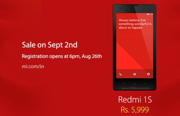 小米Redmi 1s在9月2日在印度出售