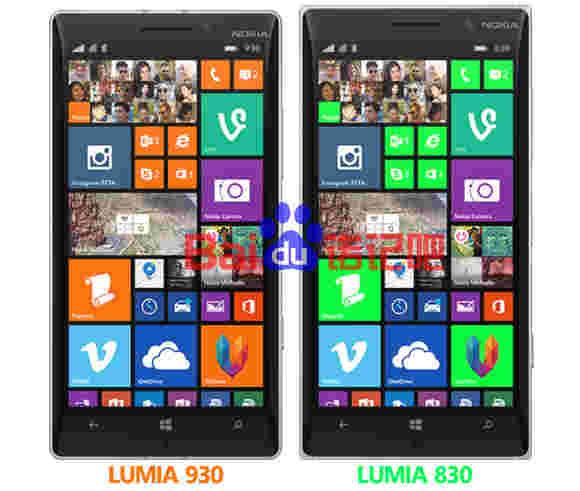 渲染将诺基亚Lumia 830与Lumia 930进行比较
