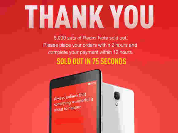 小米在75秒内销售5K Redmi Note手机