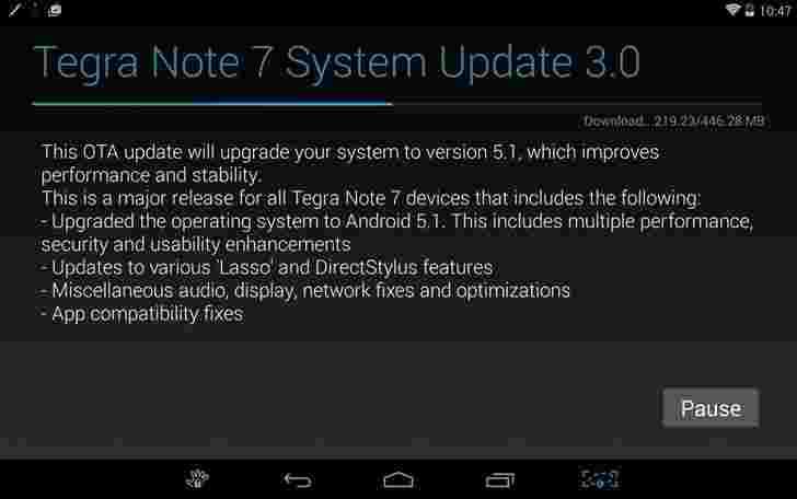 Android 5.1 NVIDIA TEGRA注释的更新现已出现