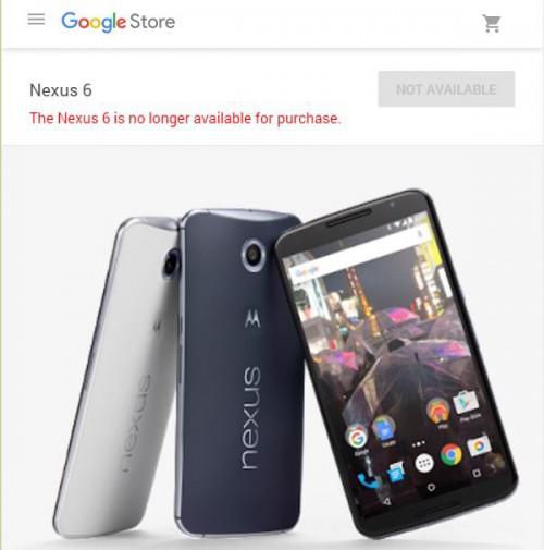 摩托罗拉Nexus 6在谷歌商店不再提供