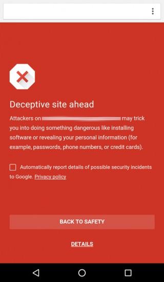 Google安全浏览到达Chrome for Android