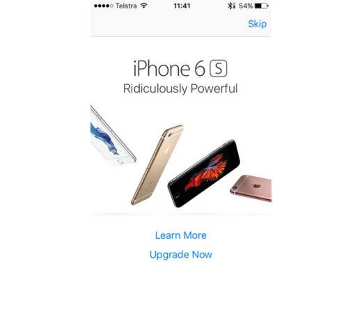 Apple为旧IPhone上的App Store用户服务全屏iPhone 6S Pop-Up ADS