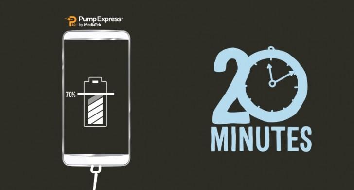 Mediatek Pump Express 3.0电池充电技术在20分钟内达到0至70%