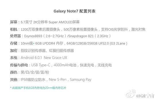 新的Galaxy Note7泄漏显示SD821和Exynos 8893供电的变体