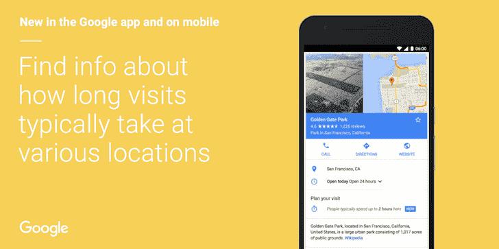 谷歌现在将告诉您持续时间通常在一个位置花费