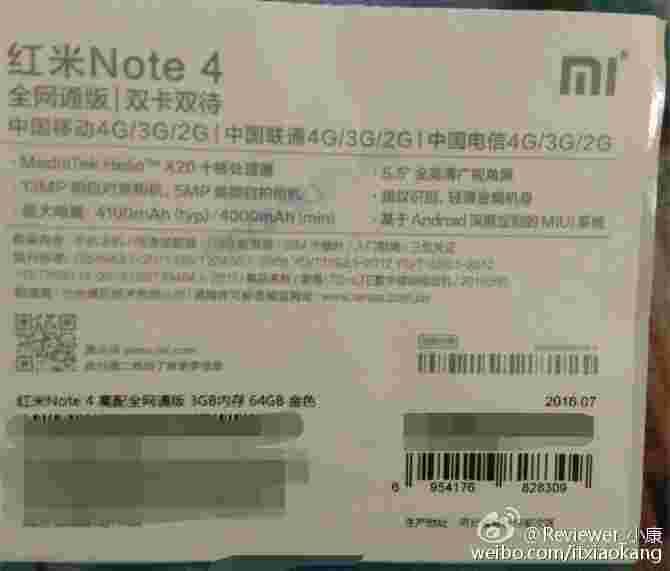 Redmi Note 4确认为Sport Helio X20 SoC,4,100mAh电池